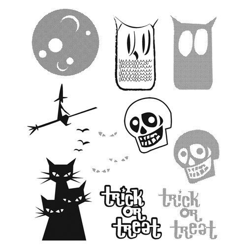 Tim Holtz Cling Rubber Stamps HALFTONE HALLOWEEN CMS199* Preview Image