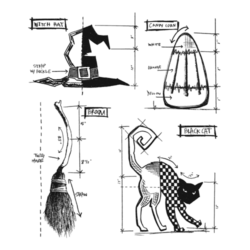 Tim Holtz Cling Rubber Stamps HALLOWEEN BLUEPRINTS 3 CMS200 Preview Image