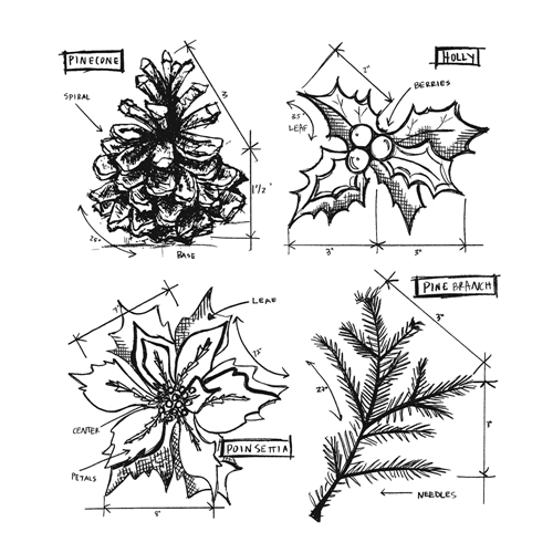 Tim Holtz Cling Rubber Stamps CHRISTMAS BLUEPRINTS 4 CMS201 Preview Image