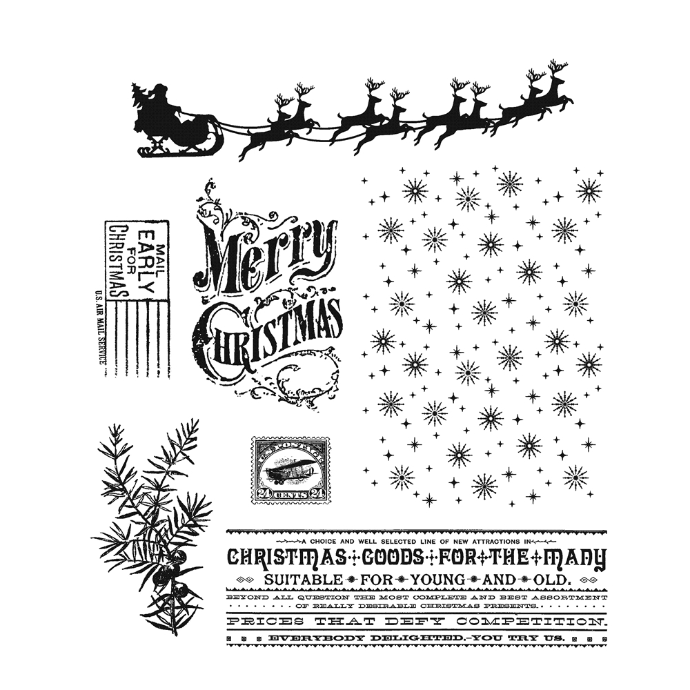 Tim Holtz Cling Rubber Stamps CHRISTMAS NOSTALGIA CMS207 zoom image