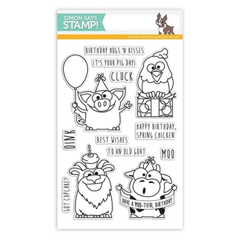 Simon Says Clear Stamps BIRTHDAY FARM ANIMALS sss101430 *
