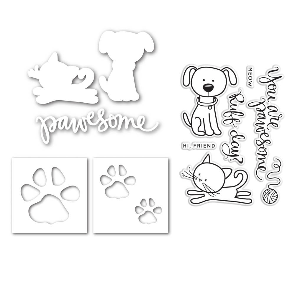 Simon Says Die Stamps Stencil Set PAWESOME CATS AND DOGS SetPCD91 This is the Life zoom image