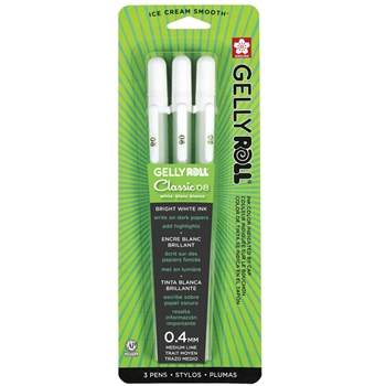 Sakura CLASSIC WHITE Gelly Roll Medium Point Pens Set of 3 37488