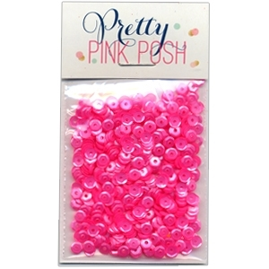 Pretty Pink Posh 4MM PINK PEONIES Cupped Sequins *