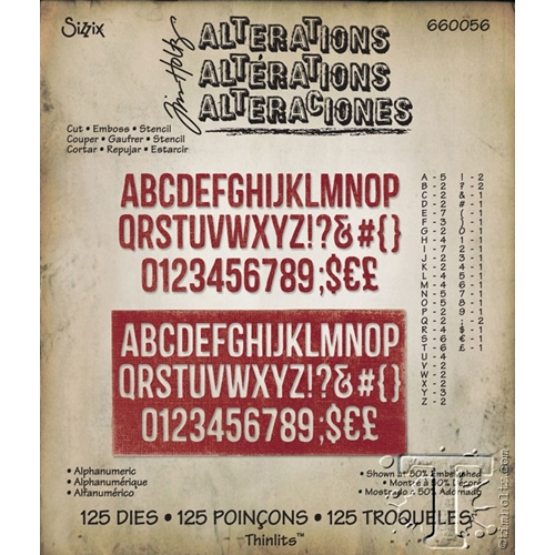 Tim Holtz Sizzix ALPHANUMERIC Thinlits Die 660056 Preview Image
