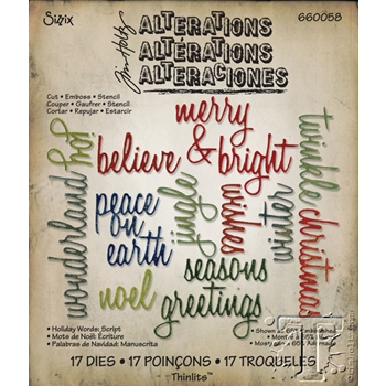 Tim Holtz Sizzix HOLIDAY WORDS: SCRIPT Thinlits Die 660058