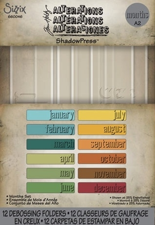 Tim Holtz Sizzix MONTHS SET ShadowPress Debossing Folders 660046 Preview Image
