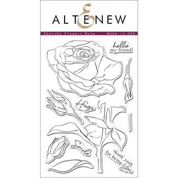 Altenew SKETCHY ROSE Clear Stamp Set ALT1006