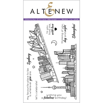 Altenew SKETCHY CITIES ABROAD Clear Stamp Set ALT1108*