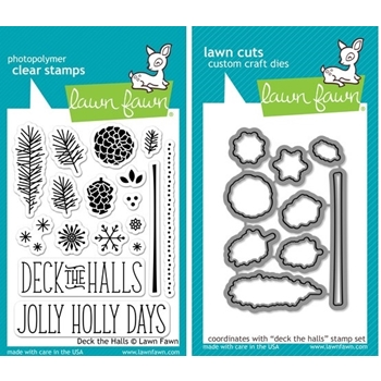 Lawn Fawn SET LF214DTH DECK THE HALLS Clear Stamps And Dies*