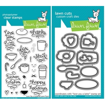 Lawn Fawn SET LF214LYAL LOVE YOU A LATTE Clear Stamps And Dies
