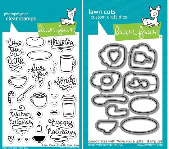 Lawn Fawn SET LF214LYAL LOVE YOU A LATTE Clear Stamps And Dies zoom image