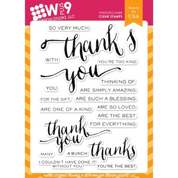 Wplus9 HAND LETTERED THANKS Clear Stamps CL-WP9HLT
