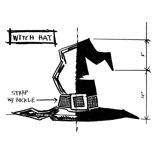 Tim Holtz Rubber Stamp WITCH HAT SKETCH Stampers Anonymous P1-2412* Preview Image