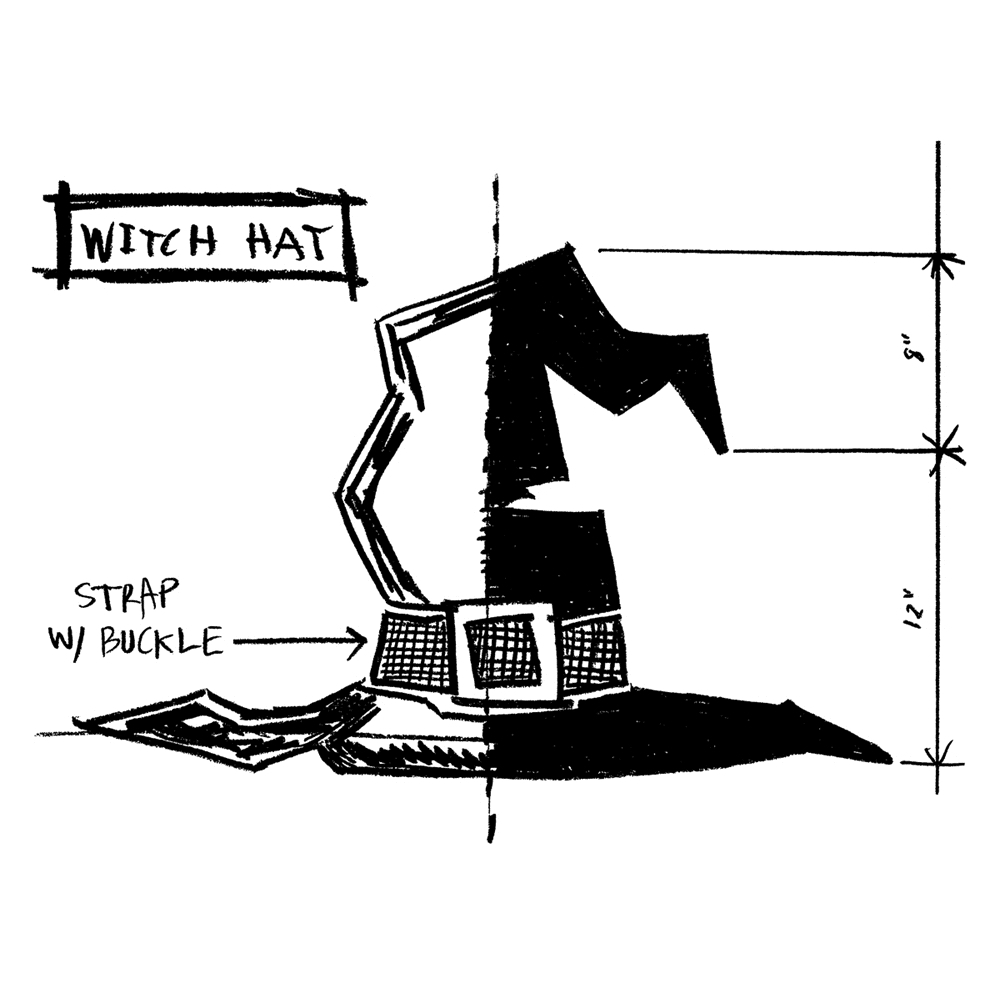 Tim Holtz Rubber Stamp WITCH HAT SKETCH Stampers Anonymous P1-2412* zoom image