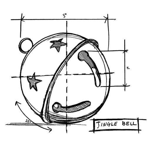 Tim Holtz Rubber Stamp JINGLE BELL SKETCH Stampers Anonymous P1-2419* Preview Image