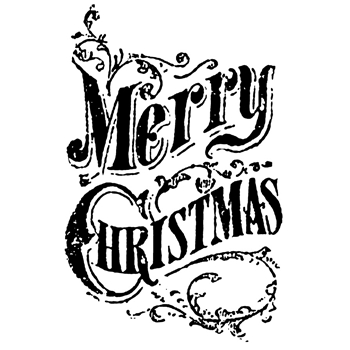 Tim Holtz Rubber Stamp SCROLL MERRY CHRISTMAS Stampers Anonymous K5-2434
