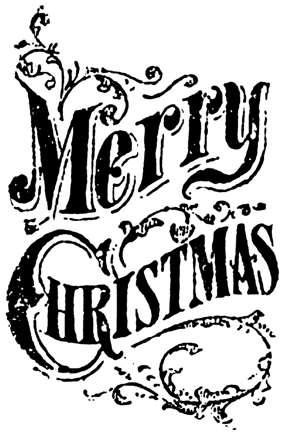Tim Holtz Rubber Stamp SCROLL MERRY CHRISTMAS Stampers Anonymous K5-2434 zoom image