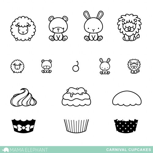 Mama Elephant Clear Stamps CARNIVAL CUPCAKES Preview Image