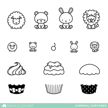 Mama Elephant Clear Stamps CARNIVAL CUPCAKES
