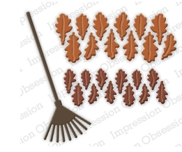 Impression Obsession Steel Dies OAK LEAVES AND RAKE DIE201-K