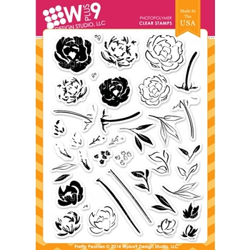 Wplus9 PRETTY PEONIES Clear Stamps CL-WP9PRPE