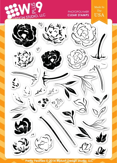 Wplus9 PRETTY PEONIES Clear Stamps CL-WP9PRPE zoom image