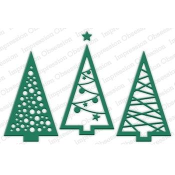 Impression Obsession Steel Dies CHRISTMAS TREE CUTOUT Set DIE240-V