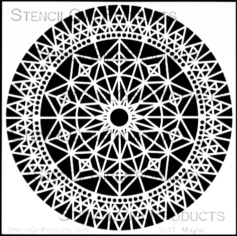StencilGirl ROSE WINDOW 6x6 Stencil S217 Preview Image