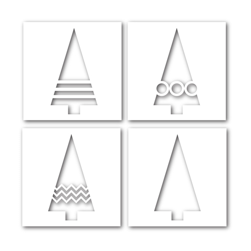 Simon Says Stamp Stencils FOUR TREES ssst121363 Cold Hands Warm Heart Preview Image