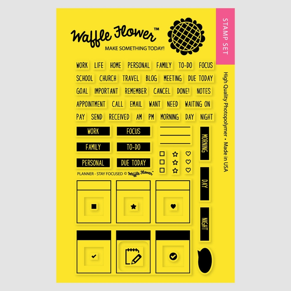 Waffle Flower PLANNER STAY FOCUSED Clear Stamp Set 271017 zoom image