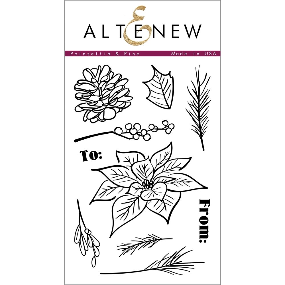 Altenew POINSETTIA AND PINE Clear Stamp Set ALT1014* zoom image