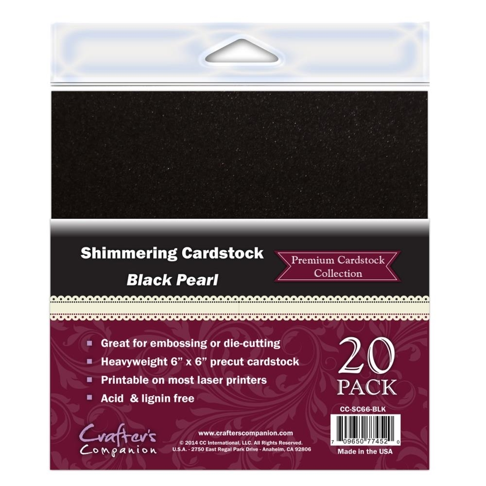 Crafter's Companion BLACK PEARL 6 x 6 Cardstock Pack CC-SC66-BLK zoom image