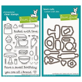 Lawn Fawn SET LF215BWL YOU'RE ALL I KNEAD Clear Stamps And Dies