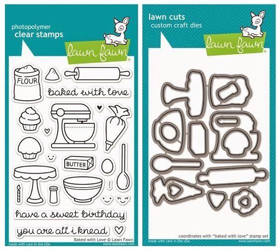 Lawn Fawn SET LF215BWL YOU'RE ALL I KNEAD Clear Stamps And Dies zoom image