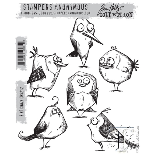 Tim Holtz Crazy Birds Cling Stamp Set