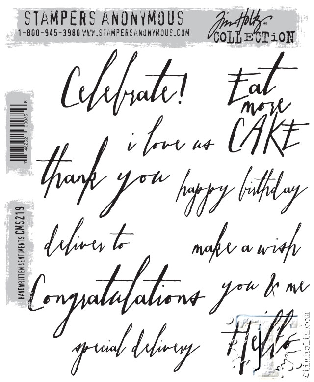 Tim Holtz Cling Rubber Stamps HANDWRITTEN SENTIMENTS cms219 zoom image