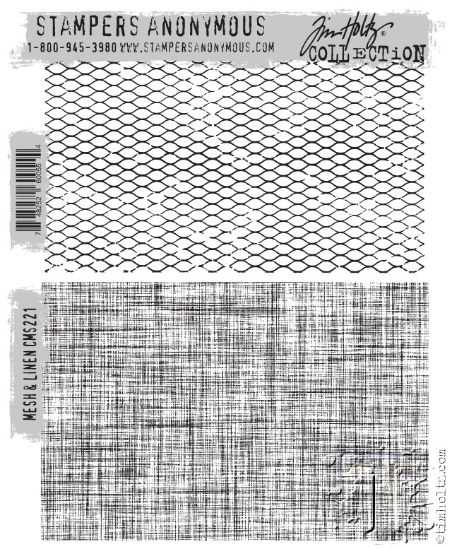 Tim Holtz Cling Rubber Stamps MESH AND LINEN CMS221 zoom image