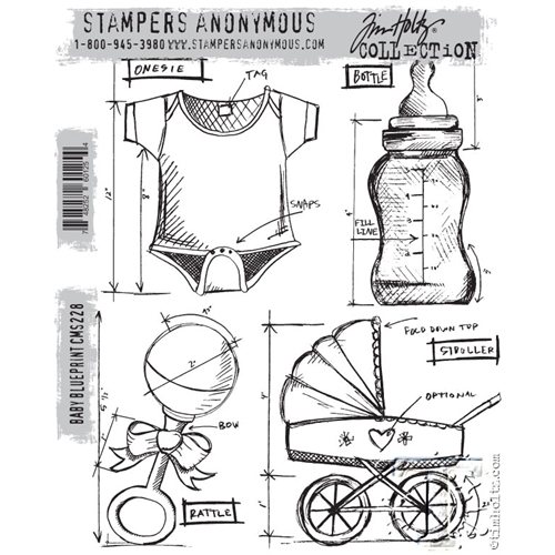 Tim Holtz Cling Rubber Stamps  BABY BLUEPRINT CMS228 Preview Image
