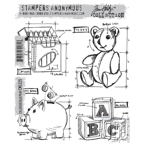 Tim Holtz Cling Rubber Stamps CHILDHOOD BLUEPRINT CMS229 Preview Image