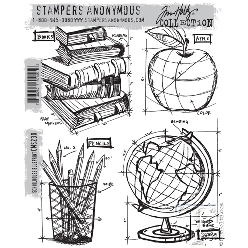 Tim Holtz Cling Rubber Stamps SCHOOLHOUSE BLUEPRINT CMS230 Preview Image
