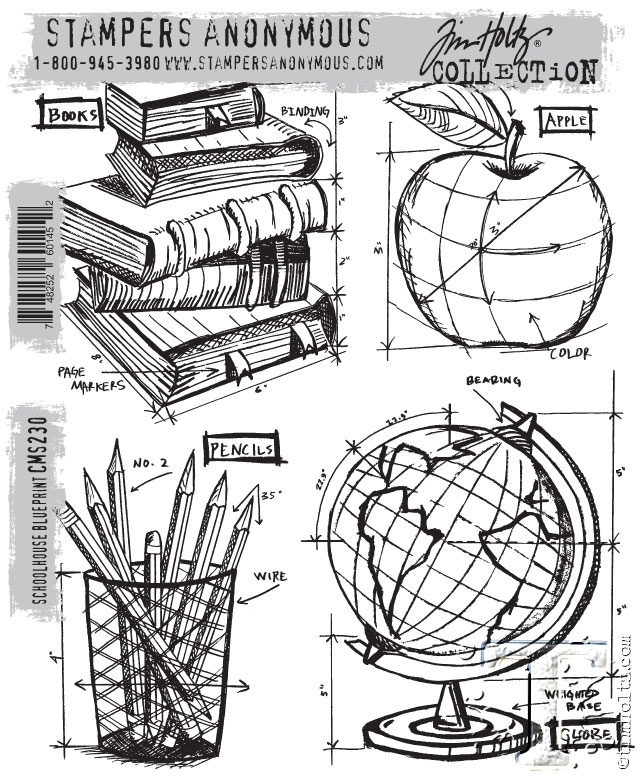 Tim Holtz Cling Rubber Stamps SCHOOLHOUSE BLUEPRINT CMS230 zoom image