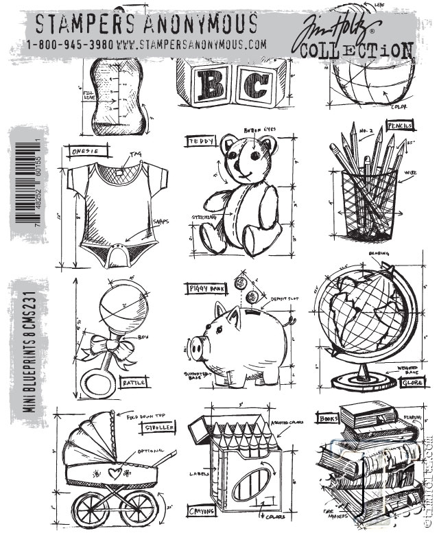 Tim Holtz Cling Rubber Stamps MINI BLUEPRINTS 8 CMS231 zoom image