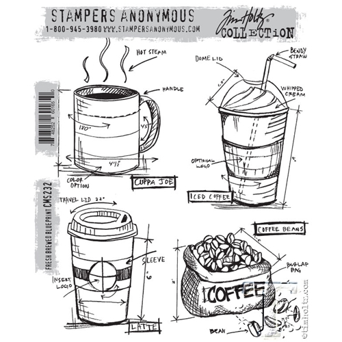 Tim Holtz Cling Rubber Stamps FRESHLY BREWED BLUEPRINT CMS232 Preview Image