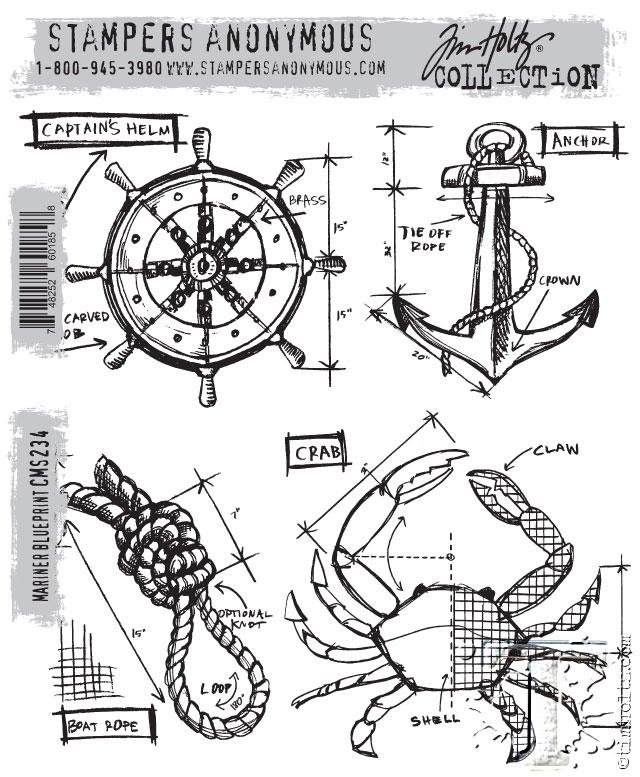 Tim Holtz Cling Rubber Stamps MARINER BLUEPRINT CMS234 zoom image