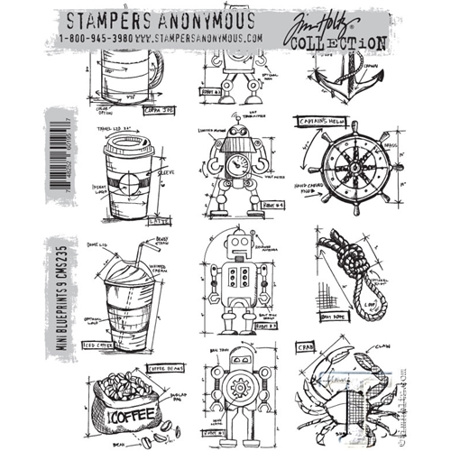Tim Holtz Cling Rubber Stamps MINI BLUEPRINTS 9 CMS235* Preview Image