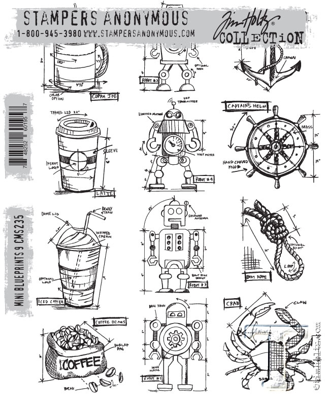 Tim Holtz Cling Rubber Stamps MINI BLUEPRINTS 9 CMS235* zoom image