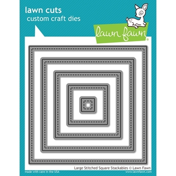 Lawn Fawn LARGE STITCHED SQUARE STACKABLES Lawn Cuts Dies LF837*