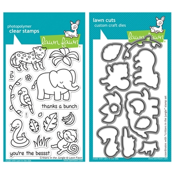 Lawn Fawn SET LF215CITJ MIGHTY JUNGLE Clear Stamps And Dies*