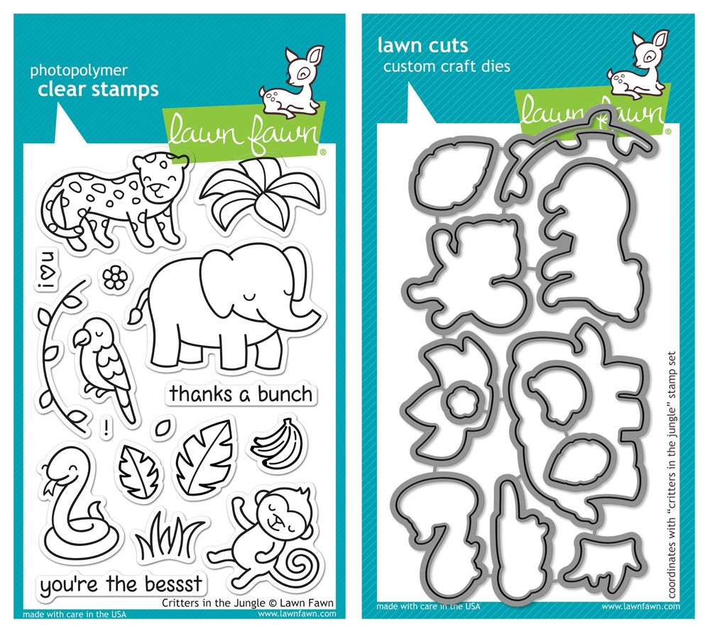 Lawn Fawn SET LF215CITJ MIGHTY JUNGLE Clear Stamps And Dies* zoom image